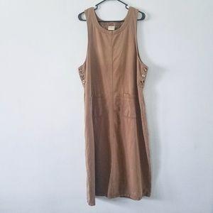 Vtg 90s Crossroads utilitarian khaki jumper dress